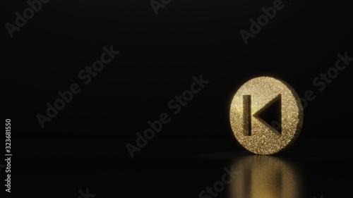 Photo science glitter gold glitter symbol of previous 3D rendering on dark black backg