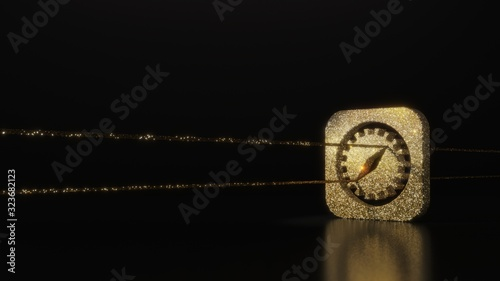 science glitter gold glitter symbol of safari 3D rendering on dark black background with blurred reflection with sparkles