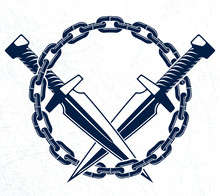 Dagger Knives Crossed Vector C...
