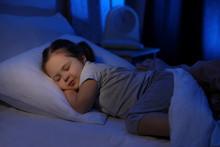 Cute Little Girl Sleeping At Home. Bedtime Schedule