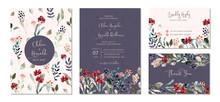 Wedding Invitation Set With Floral Garden Watercolor