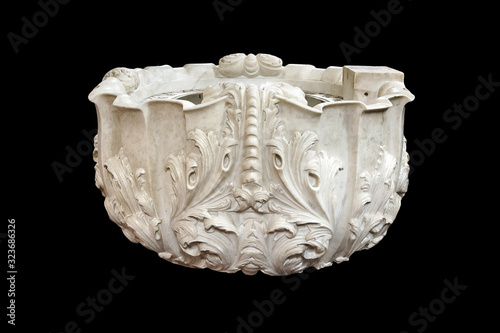 Antique white church sculpture marble baptismal font isolated Wallpaper Mural