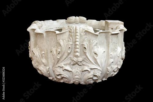 Valokuvatapetti Antique white church sculpture marble baptismal font isolated