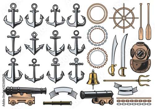 Canvas Print Nautical icons with vector sea ship anchors, ropes and chains, sail boat helm, bell and vintage diver helmet, old naval cannon, paddles, trident and ribbon banners