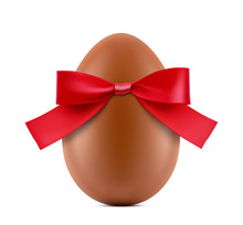 Chocolate Easter Egg With Satin Red Bow Isolated On White Background. Vector Illustration. Ready For Your Design. EPS10.