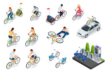 Set Of Cyclists, Car With Bike Holder, Bicycle Parking. Isometric People On Bicycles. Family Cyclists. Collection Of People Riding Bicycles Of Various Types.