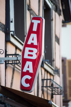 Closeup Of Red Tabacco Sign Wi...