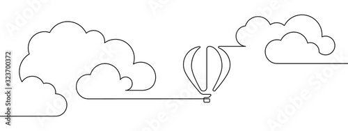 Obraz Hot air balloon floating in the sky among clouds in continuous line art drawing style. Minimalist black linear design isolated on white background. Vector illustration - fototapety do salonu