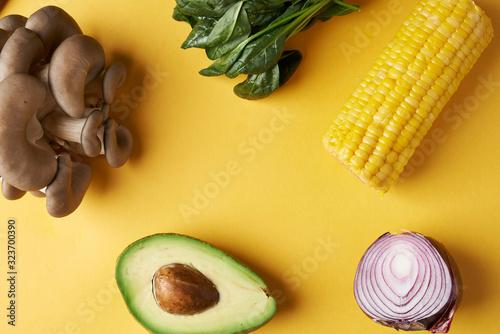 Fototapeta vegetables on yellow background  obraz na płótnie
