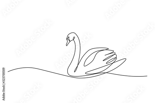 Tablou Canvas Swan bird on water surface in continuous line art drawing style