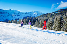 Childs Cross-Country Skiing In European Alps At La Livraz, Nordic Ski Center Located In Megève In The French Alps Between The Aravis Mountain Range And The Mont Blanc Massif, Haute-Savoie.