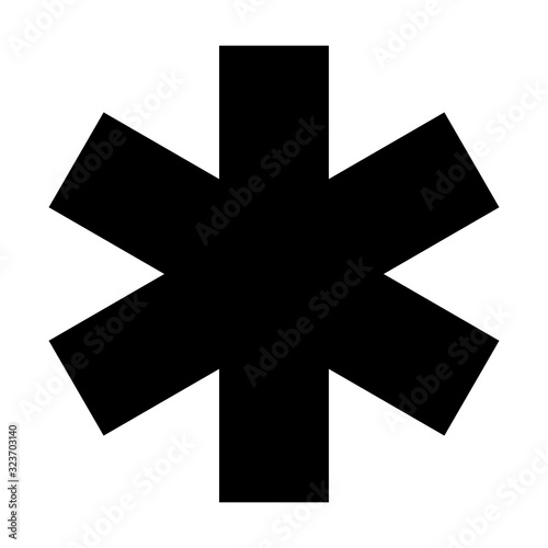 Black asterisk sign isolated on white background Canvas Print