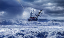 Sailing Ship In Storm Sea On The Background Power Sea Wave With Lightning