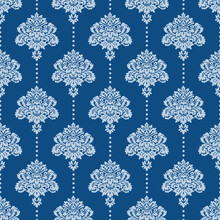 Vintage Classic Damask On Classic Blue Pattern