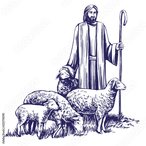Cuadros en Lienzo Son of God, the Lord is my shepherd, Jesus Christ with a flock of sheep, symbol
