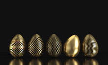 Golden Easter Eggs With Dark Paint On Black Background. 3d Rendering