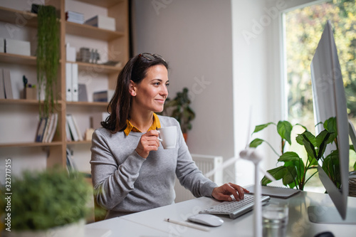 Cuadros en Lienzo Attractive businesswoman sitting at the desk indoors in office, working