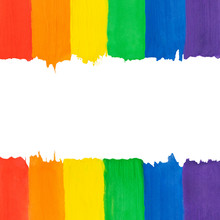 Lgbt Background With Copy Space. Abstract Painting Rainbow Gradient, Hand Drawn. Square