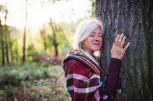 Senior Woman On A Walk In An Autumn Forest, Hugging Tree.