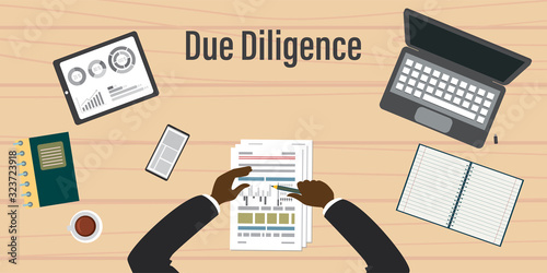 Fotografie, Obraz Due diligence business review with paper document and graph