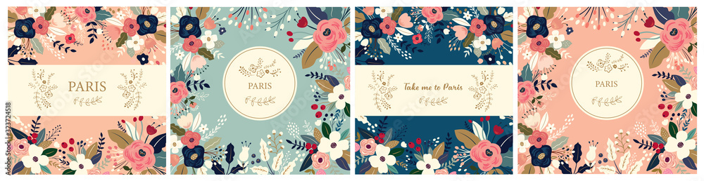Fototapeta Beautiful collection of floral patterns. Holiday flower patterns for cards, invitations, package design