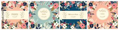 Obraz Beautiful collection of floral patterns. Holiday flower patterns for cards, invitations, package design - fototapety do salonu