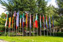 National Flags At Sevtopolis Square In Kazanlak, Stara Zagora Province, Bulgaria