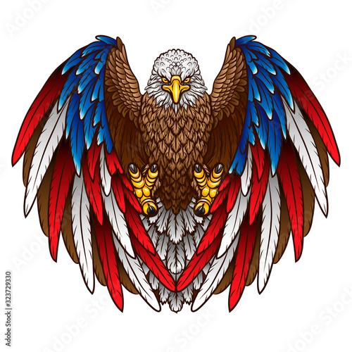 An eagle with an American flag Fototapeta