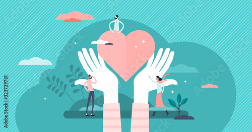 Fotomural Love heart symbol with holding hands, flat tiny person vector illustration