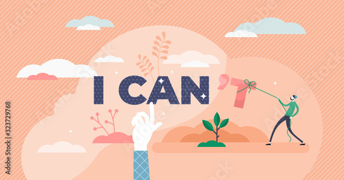 Fototapeta I can inspirational concept, flat tiny person vector illustration