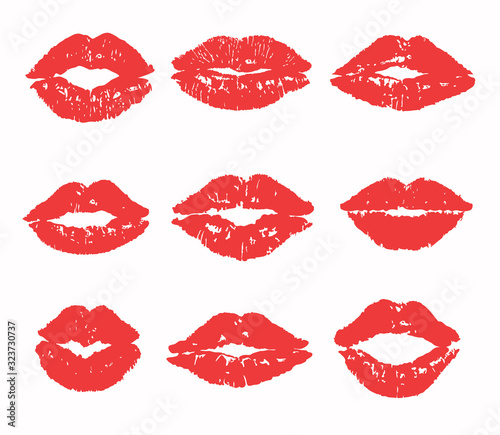 Kiss trace set (red, pink lipstick). Flat lip vector silhouette. Traces of sexy woman kisses isolated on transparent background. Love sign, romantic stamp, imprint, symbol. Female mouth icon, logo.    Wall mural