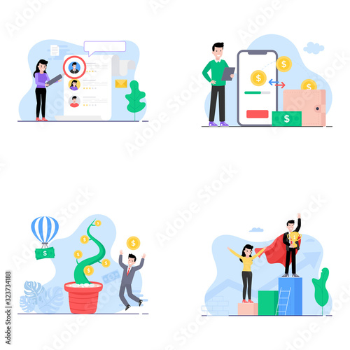 Fototapety, obrazy:  People Activities Flat Illustrations Pack