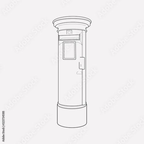 British post box icon line element Canvas Print