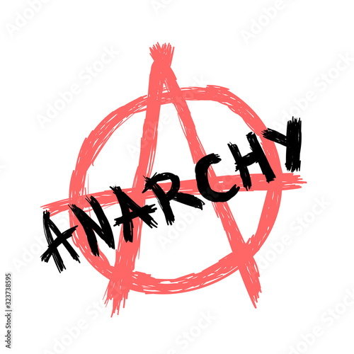 Text Anarchy and anarchy symbol drawn by hand Wallpaper Mural