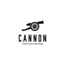 Cannon Artillery Logo Vintage Illustration Design Vector Icon