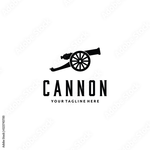 cannon artillery logo vintage illustration design vector icon Wallpaper Mural