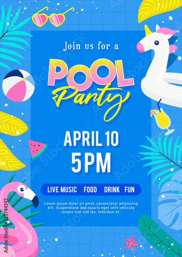 Obraz Pool party invitation poster vector illustration. Top view of swimming pool with cute pool floats. - fototapety do salonu