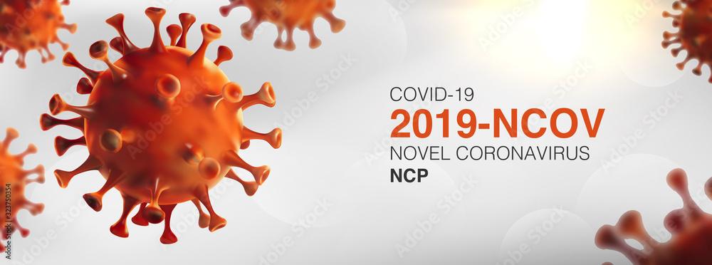 Fototapeta China epidemic coronavirus 2019-nCoV in Wuhan, Novel Coronavirus (2019-nCoV). Virus Covid 19-NCP. nCoV denoted is single-stranded RNA virus.