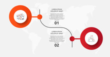 Vector Template Circle Infographics. Business Concept With 2 Options And Parts. Two Steps For Diagrams, Flowchart, Timeline. Path Step By Step