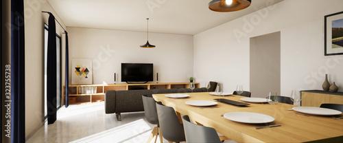 Foto vue 3d pièce de vie appartement avec carrelage gris et balcon 2