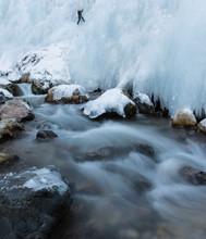 Climbing A Frozen Waterfall Ov...