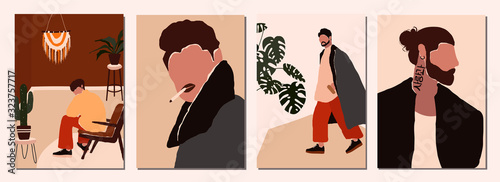 Obraz Set of abstract modern man people faces portraits artistic trendy background templates posters cards. Trendy art minimal background poster wall art print. Vector illustration in hand drawn flat style - fototapety do salonu