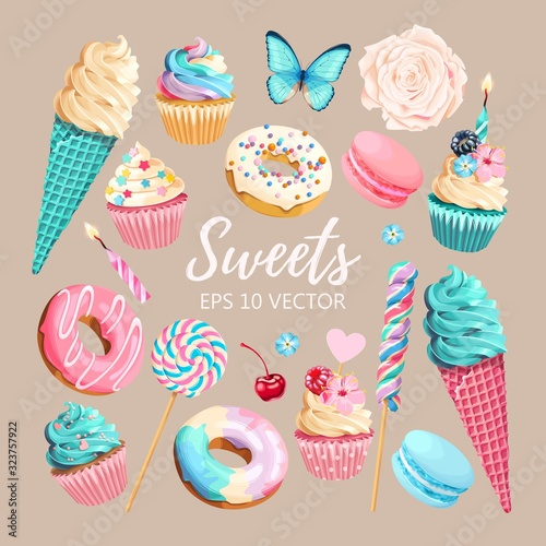 Fotografia, Obraz Vector set of ice cream, muffins and macaroons