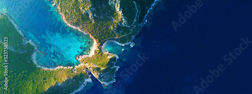 Aerial drone wide photo of paradise exotic lagoon with turquoise rocky beach Fototapete