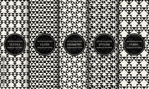 Fototapety, obrazy: Set of vector decorative seamless patterns with geometric creative shapes. Textile striped black and white textures. Abstract monochrome fabric backgrounds