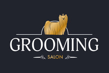 Vector Logo For Pet Styling And Grooming Shop, Hair Salon, Pet Store  Signboard For Dogs, Web Site Design. Horizontal Illustration With Golden Yorkshire Terrier And Scissors On Black Background.