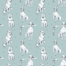 Cute Seamless Pattern With Pup...