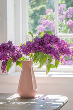 Lilac In Vase Against The Wind...