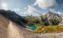 The Piani Lakes With Mount Paterno On The Left, The Toblin Tower In The Center And The Crodoni Di San Candido On The Right, Tre Cime Natural Park, Dolomites, South Tyrol, Italy, Europe