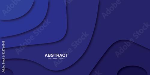 Fototapeta Vector 3d paper cut art shapes blue background. obraz